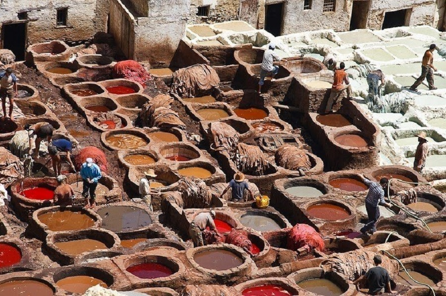 Visiting the leather tanneries is a highlight of a trip to Fez in Morocco